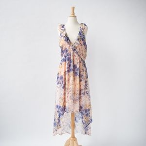 Leith Floral High Low Midi Dress